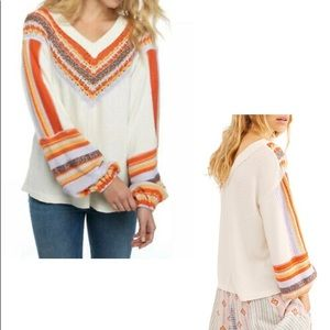 FREE PEOPLE | NWT Crochet Waffle Knit Thermal Top
